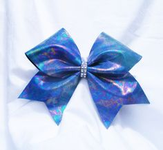 Cheer bow- Blue oil spill look bow- cheerleading bow- cheerleader bow- dance bow- soft ball bow- cheerbow - pinned by pin4etsy.com