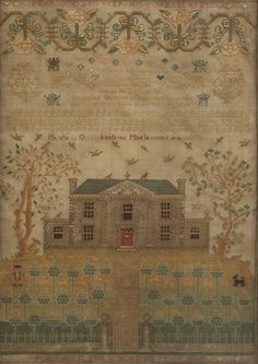 <b>ENGLISH SCHOOLGIRL NEEDLEWORK SAMPLER.</b> <i>Worked by Maria Mahr, aged 11 and Margare McEwan, 1824.</i> Incorporating verses and alphabet rows, over a tree-lined house with orchard, and containing a farmer and his dog. Worked in polychrome silk threads, on a linen ground <i>- 18 1/4 in. x 13 in., sight size.</i>