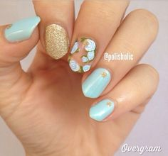 Blue and gold accent nails!