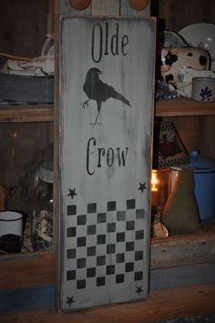 Hand Made Sage Green Wood Olde Crow Sign/Game Board Country Primitive Folk Art #CountryFolkArtPrimitive