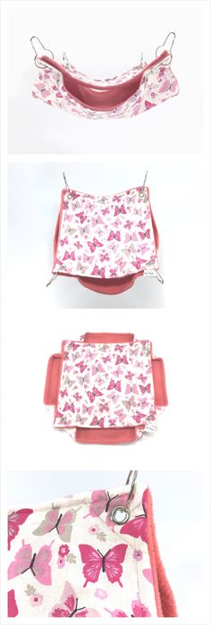 Pink butterflies double chinchilla hammock, Hamster cage accessories, sugar glider accessories, custom ferret hammock