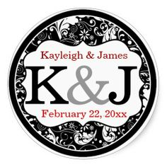 Monogrammed Wedding   These beautiful stickers will add the perfect finishing touch to your wedding whether you use them as envelope seals or favor stickers or anything else you can come up with. Round featuring black and white whimsical flowers, leaves and swirls. You then personalize it with the text of your choice. You can choose the font and the COLOR of the text!