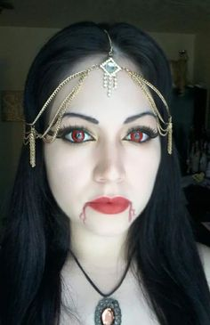 Tiara with Red Contact Lenses