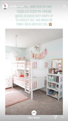 Our big girls bedroom update Complete with bunk beds and new pink bedding by Beddys Beds Pink accents tassels aqua stripes and a chandelier Super simple changes make a hu. Bunk Beds For Girls Room, Bunk Bed Rooms, Big Girl Bedrooms, Shared Bedrooms, Little Girl Rooms, Simple Girls Bedroom, Bunk Beds For Toddlers, Girls Bedroom Pink, Bunkbeds For Small Room