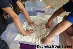 DIY Kinetic Sand is no mess, easy clean up and a ton of fun. DIY Kinetic Sand is much cheaper, super easy to create and smells better than Kinetic Sand.