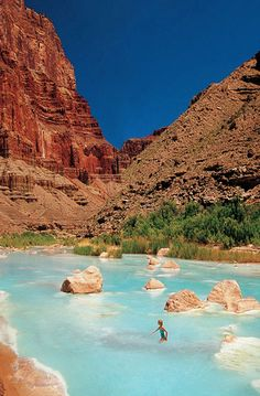 Little Colorado River with it's travertine blue waters at the junction of Marble Canyon and the Grand Canyon.