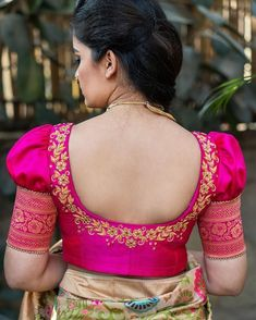 Look out for bridal fashion's latest trend - Retro puff sleeves! Blouse Back Neck Designs, Kids Blouse Designs, Wedding Saree Blouse Designs, Simple Blouse Designs, Stylish Blouse Design, Designer Blouse Patterns, Fancy Blouse Designs, Silk Saree Blouse Designs, Hand Designs
