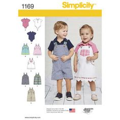 get this classic baby look with these adorable overalls in two lengths, jumper with trim and hem variations, and knit one piece bodysuit with collar. Toddler Sewing Patterns, Simplicity Sewing Patterns, Baby Sewing, Sewing Ideas, Sewing Projects, Sew Baby, Baby Patterns, Baby Baby, Toddler Bibs