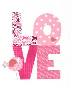 Elephant Love Hearts Print for Breast Cancer by 3000yardsofthread