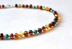 RESERVED Gemstone Necklace Sterling Silver Amber by KARUBA on Etsy, $49.00