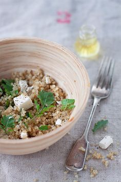 A nutty (quinoa), peppery (arugula), and salty (Feta cheese) combination.