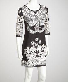 Take a look at this Black Flourish Dress by Ella Samani on #zulily today!