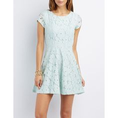 Charlotte Russe Floral Lace Skater Dress ($30) ❤ liked on Polyvore featuring dresses, pale blue, blue dress, pale blue dress, floral dress, lace dress and charlotte russe dresses