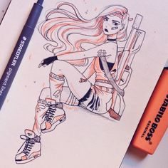 #Inktober day 3! A classic apocalypse survivor badass girl for today hope you guys like it!! . #art #doodles #artistsoninstagram #sketch…