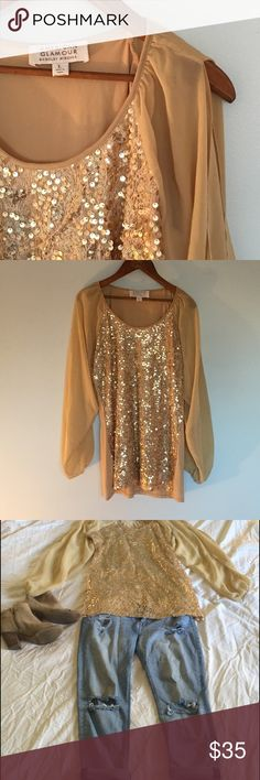 Badgley Mischka Gold Sequence Cold Shoulder Tunic American Glamour by Badgley Mischka. Cold shoulder with sheer sleeves Sequent top. No flaws. Badgley Mischka Tops Tunics