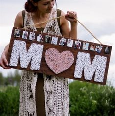 This DIY string art gift for Mother's Day from Lily Ardor is another lovely way to show off your memories! Easily personalize this string art sign with your favorite photos for a unique photo display that Mom will… – Pins Homemade Mothers Day Gifts, Diy Gifts For Mom, Presents For Mom, Mothers Day Crafts, Mothers Day Ideas, Mothers Day Signs, Mothers Day Decor, Signs For Mom, Unique Mothers Day Gifts