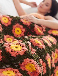 Yarnspirations.com - Caron Garden Flowers Throw - Patterns    Yarnspirations