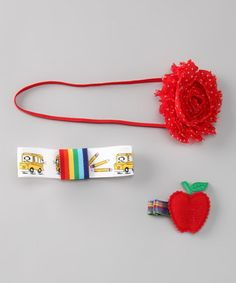 #zulily #fall Take a look at this Red Apple Back-to-School Headband Set by Blossomheads Boutique on #zulily today!