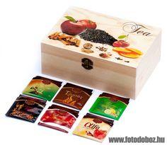 Egyedi fa teás doboz
