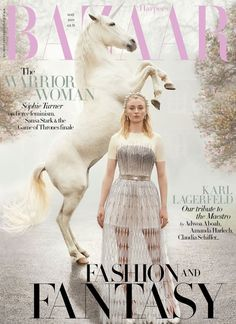 """Game of Thrones' """"Sansa Stark"""" Sophie Turner takes the cover of British Harper's Bazaar's May 2019 edition captured by fashion photographer Richard Phibbs. In charge of styling was Miranda Almond, with set design from Trish Stephenson. Sophie Turner, Revista Bazaar, Amanda Harlech, Fashion Magazine Cover, Magazine Covers, Vogue Covers, Sansa Stark, Harpers Bazaar, Covergirl"""