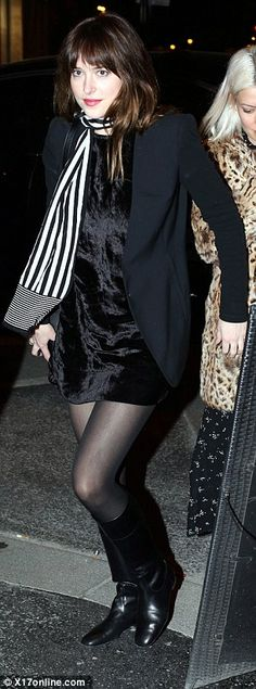 Classic look: The night before that saw Dakota party likes of    Jared Leto  at the Balmain afterparty