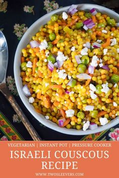 This Israeli Couscous Recipe combines couscous, veggies and feta cheese for a delightful vegetarian dish you'll love. Make this easily in your Instant Pot. Couscous Recipes Israeli, Pearl Couscous Recipes, Couscous Dishes, Israeli Couscous Salad, Vegetarian Recipes, Healthy Recipes, Vegetarian Dish, Healthy Meals, Healthy Eating