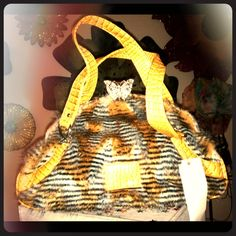 "Textured Faux Leather with Synthetic Fur I can't believe it's faux - this bag has faux croc print embossed on strap handles 20"", beautiful rhinestone encrusted butterfly clutch closure, inside lining with zip/opn pockets 19"" x 5"" x 10"" Bags Satchels"
