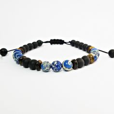 Pulseira Masculina Pedras Naturais Onix Olho de Tigre Jaspe Marinho Azul mens bracelets fashion style cocar brasil