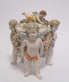 PORZELLAN DECKELSCHALE SCHALE MIT DECKEL DOSE FIGURENGRUPPE ENGELFIGUR ENGEL in Antiquitäten & Kunst, Porzellan & Keramik, Porzellan | eBay