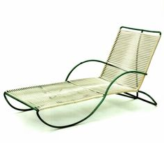 """Walter Lamb for Brown-Jordan Company. Chaise, c. 1954. """"While living in Hawaii in the 1940s, Lamb first created patio furniture with bronze he allegedly salvaged from sunken navy ships after the attack on Pearl Harbor. """""""