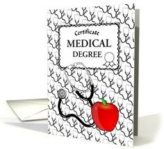 Medical Themed Custom Certificate Card with Stethoscope and an Apple. Custom Card Now Reads: MEDICAL DEGREE. Can also be useful for a Certificate of Retirement, or other sources of the medical profession.