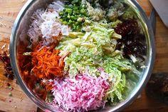 Kimchi ingredients in bowl