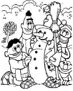 kleurplaat Winter - Bert en Ernie maken sneeuwpop