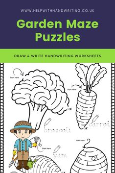 Can you child keep their pencil between two lines to successfully complete the maze puzzles? Not only will these maze puzzles improve pencil control skills they will also help improve handwriting. Next to every maze they re asked to trace over the dots to write the vegetable and/or fruit name next to the puzzle they have just completed. Suitable for 5 to 7 years. Handwriting for kids how to improve. #mazepuzzles #mazegamesforkids