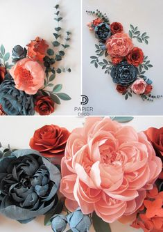 Giant Paper Flowers for a Fall Wedding These paper flowers are an idea how to make a fall wedding backdrop. Crepe paper flowers - peonies are made of different styles and are basis of this teal and coral flowers set Large Paper Flowers, Paper Flowers Wedding, Tissue Paper Flowers, Paper Flower Wall, Diy Flowers, Wall Flowers, Autumn Flowers, Paper Mache Flowers, Hanging Paper Flowers