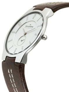 Skagen Men's 433LSL1 Slim Brown Leather Watch at Amazon Men's Watch store.