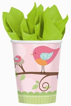 A sweet little momma bird and her baby adorn each Tweet Baby Girl 9 Ounce Hot/Cold Beverage Cup. The pastel colors and adorable nature-inspired design coordinates with rest of the Tweet Baby Girl collection, including napkins, plates and tablecovers.  One package contains 8 beverage cups.