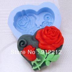 무료 배송 DIY 심장- 모양의 장미 새로운 제품 수제 실리콘 비누 금형 비누 금형 비누 금형