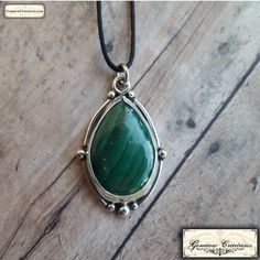Handmade Silver and Malachite Pendant by GomeowCreations on Etsy