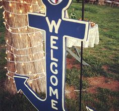 A nautical baby shower - DIY anchor welcome sign!