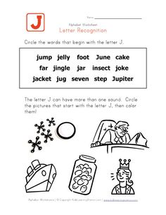 Words That Start With The Letter J Check Out This Letter J Recognition Page And The Rest Of Our Alphabet Worksheets Weve Got Tons To Choose From That