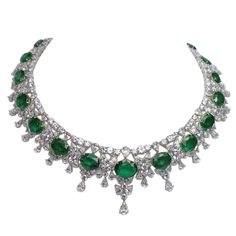 Platinum Diamond Emerald Necklace. The weight of the emeralds are 98.16 carats and the weight of the diamonds are 88.7 carats F color VS clarity.