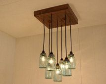 Mason Jar Chandelier - Antique Blue Mason Jars - Mason Jar Lighting - Refined Alder Wood