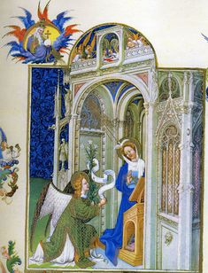 Limbourg Brothers. Annunciation, Tres Riches Heures of the duc de Berry, c. 1413-16. MS 65, fol. 26r. Musée Condé, Chantilly, France.