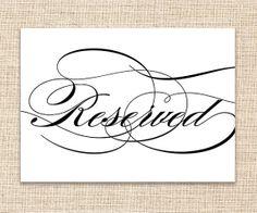 Reserved Wedding Sign  Printable Wedding Sign  5x7 by konadesigns, $3.00
