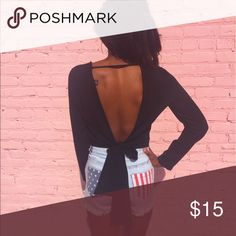 Backless Black Blouse Blackless  black Blouse with a bow tie Forever 21 Tops Blouses