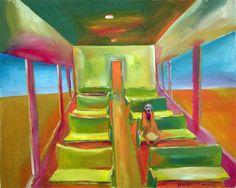 Solo en el vagon. Venta de pinturas sobre trenes. Paintings of trains for sale. venda de pinturas de trens.