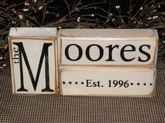 CUSTOM LAST NAME WEDDING SHOWER GIFT ESTABLISHED MARRIAGE DATE CUSTOM WOODEN SIGN BLOCKS PERSONALIZED