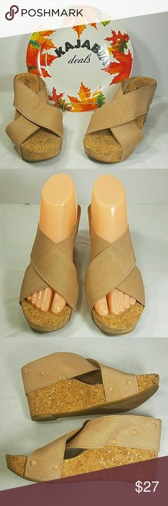 """LUCKY BRAND Wedges. Size 8 Excellent condition Lucky Brand Wedges Size.. 8 Pre owned. No rips. No spots Color.. gold Fabric upper. Man made lining Man made cork sole  Gold thread in the elastic Almost 4"""" wedge hight with 1 1/2"""" platform Easy slip on silhoute Style is Miller 2  Perfect for any occasion!!  🚫NO TRADES 🚫NO MODELING 🔵REASONABLE OFFERS WELCOME !! Lucky Brand Shoes Wedges"""