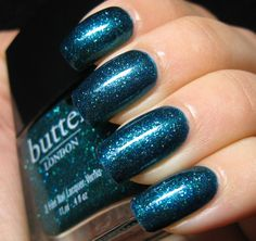 butter London Henley Regatta sparkly blue green nail polish / lacquer